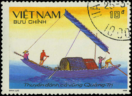VIETNAM - CIRCA 1988  a stamp printed by VIETNAM shows image of a sailing ship, series, circa 1988 Stock Photo - 18033232
