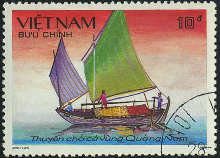 VIETNAM - CIRCA 1988  a stamp printed by VIETNAM shows image of a sailing ship, series, circa 1988 Stock Photo - 18033234