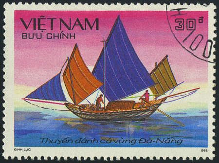 VIETNAM - CIRCA 1988  a stamp printed by VIETNAM shows image of a sailing ship, series, circa 1988 Stock Photo - 18033233