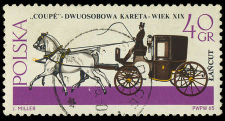 POLAND - CIRCA 1965  A stamp printed in Poland shows Horse-drawn Carriage with the inscription  Coupe, XIX century  from the series  Horse-drawn Carriages, Lancut Museum , circa 1965 Stock Photo - 18018196