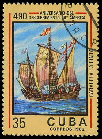 pinta: CUBA - CIRCA 1982  A stamp printed in Cuba shows ship La Pinta, devoted Discovery of America, 490th anniversary, series, circa 1982