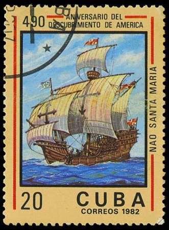 CUBA - CIRCA 1982  A stamp printed in Cuba shows ship Santa Maria, devoted Discovery of America, 490th anniversary, series, circa 1982 Stock Photo - 18018207