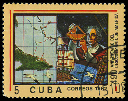CUBA - CIRCA 1982  A stamp printed in Cuba shows ship Santa Maria, devoted Discovery of America, 490th anniversary, series, circa 1982 Stock Photo - 18018204