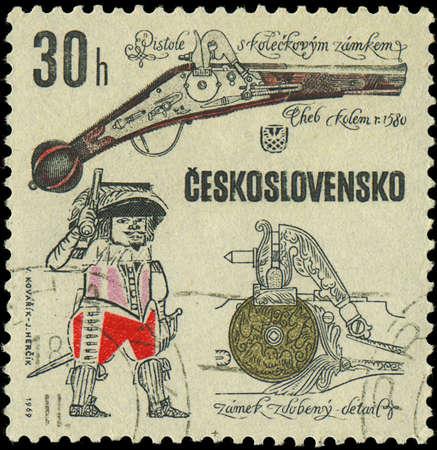 CZECHOSLOVAKIA - CIRCA 1969  A stamp printed in Czechoslovakia shows ancient gun, circa 1969