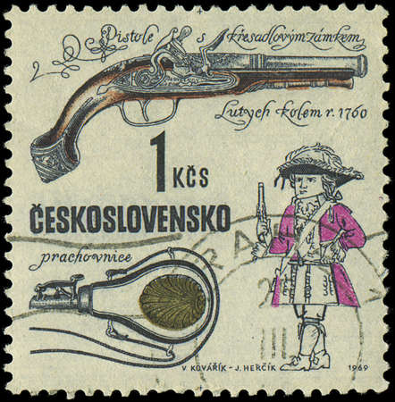 CZECHOSLOVAKIA - CIRCA 1969  A stamp printed in Czechoslovakia shows ancient gun, circa 1969 Stock Photo - 18111590