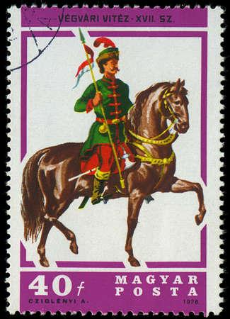 HUNGARY - CIRCA 1978  A stamp printed by Hungary, shows Hussar Lancer, circa 1978