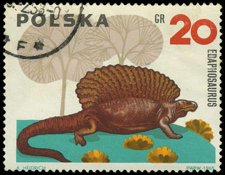 POLAND - CIRCA 1965  a stamp printed by POLAND shows edaphosaurus, series dinosaurs, circa 1965