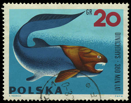 POLAND - CIRCA 1965  A stamp printed in Poland showing Dinichthys, circa 1965 Editorial