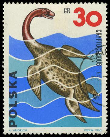 POLAND - CIRCA 1965  A stamp printed in Poland shows Cryptocleidus, series Dinosaurs, circa 1965 Editorial
