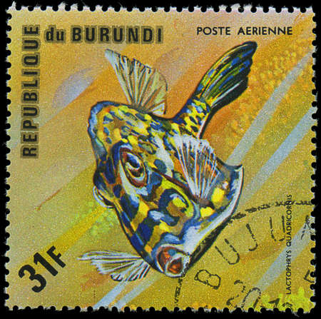 postmail: Republic of Burundi, - CIRCA 1975  A stamp printed by Burundi shows the fish Lactophrys quadricornis, circa 1975
