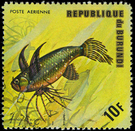 postmail: Republic of Burundi, - CIRCA 1975  A stamp printed by Burundi shows the fish Pantodon buchholzi, circa 1975 Editorial
