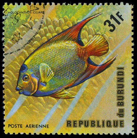postmail: Republic of Burundi, - CIRCA 1975  A stamp printed by Burundi shows the fish Holocanthus ciliaris, circa 1975