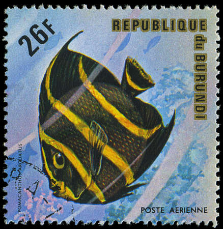 postmail: Republic of Burundi, - CIRCA 1975  A stamp printed by Burundi shows the fish Pomacanthus arouatus, circa 1975 Editorial