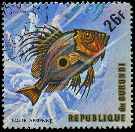 Republic of Burundi, - CIRCA 1975  A stamp printed by Burundi shows the fish Zeus faber, circa 1975