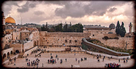 kotel: Western Wall,Temple Mount, Jerusalem, Israel  Photo in old color image style