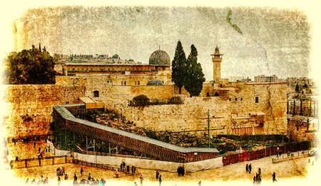 Westelijke Muur, Tempelberg, Jeruzalem, Israël Foto in oude afbeelding in kleur stijl