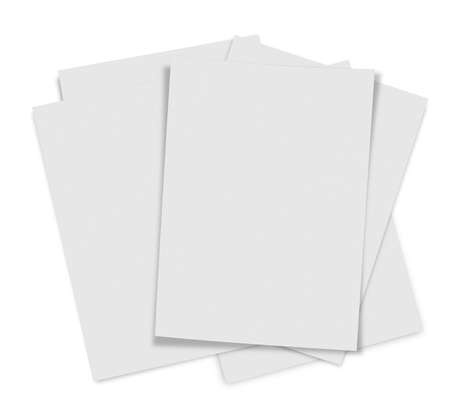 close up of stack of papers on white background