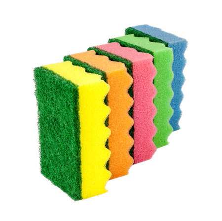Sponges for cleaning, isolated on white background Stock Photo