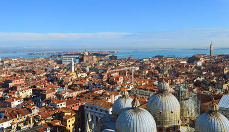 St  Mark s Cathedral in Venice  from above with city roofs Stock Photo