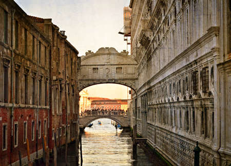 Bridge of Sighs - Ponte dei Sospiri  A legend says that lovers will be granted eternal love if they kiss on a gondola at sunset under the Bridge  Venice,Veneto, Italy, Europe  photo