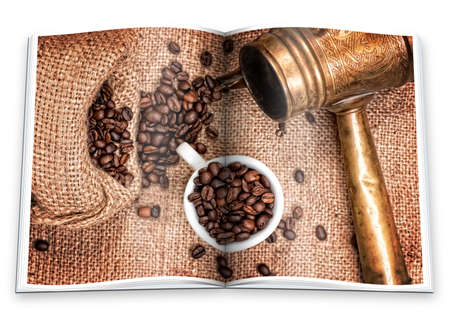 An opened  book with a picture Arabic old copper turks, cup and  scattered coffee grains photo