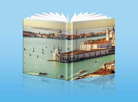 An opened  book with a picture Gulf of Venice, - Grand Canal , Italy photo