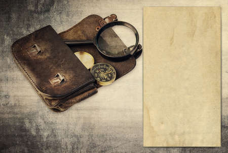 Vintage background with old paper, wallet and compass Stock Photo - 19139044