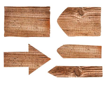 collectie van verschillende lege houten teken op witte achtergrond Stockfoto