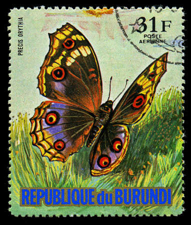 REPUBLIC OF BURUNDI - CIRCA 1974: A stamp printed in Burundi shows a butterfly Precis Orythia, series, circa 1974 Stock Photo - 21154606