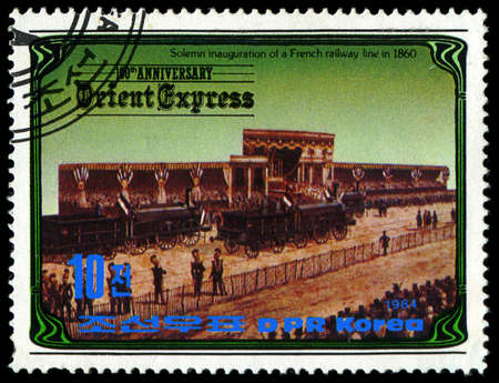 KOREA - CIRCA 1984: A stamp printed in Korea, shows inauguration of a French railway line in 1860 , circa 1984
