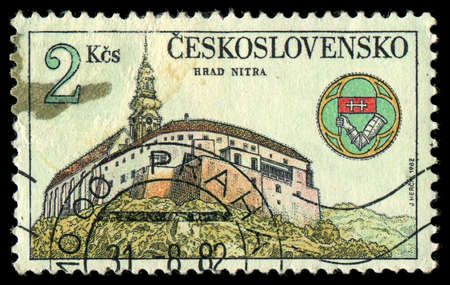 CZECHOSLOVAKIA - CIRCA 1982: The stamp printed in Czechoslovakia shows an ancient castle, circa 1982 Stock Photo - 21417562