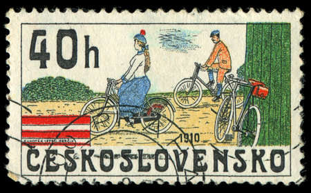 czechoslovakia: CZECHOSLOVAKIA - CIRCA 1986: stamp printed by CZECHOSLOVAKIA, shows the image of retro Bicycle, circa 1986