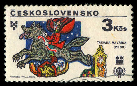 CZECHOSLOVAKIA- CIRCA 1979: A stamp printed in the Czechoslovakia, represented, 6th biennial exhibition of illustrations for childrens books, illustrations of Russian fairy tales by Tatiana Mavrina, circa 1979