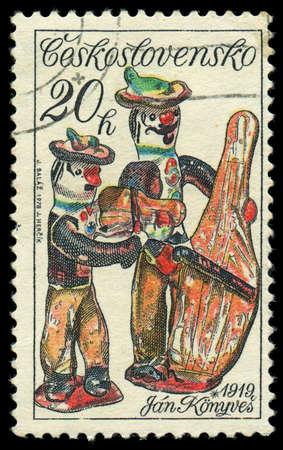 CZECHOSLOVAKIA - CIRCA 1978: A stamp printed in Czechoslovakia, shows musicians, by Jan Konyves, series slovak ceramics, circa 1978