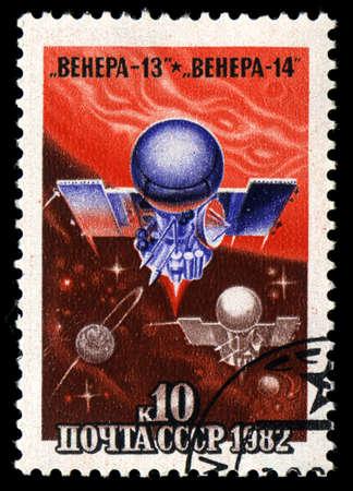 interplanetary: USSR - CIRCA 1979: A stamp printed in USSR shows the Interplanetary flights of Venera 13 and Venera 14, circa 1979