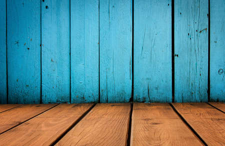 old grunge interior, blue and yellow wooden background photo