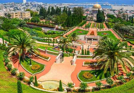 Een mooi beeld van de Bahai tuinen in Haifa Israël. Stockfoto