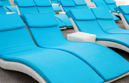 empty beach couches at the beach Stock Photo - 22190076