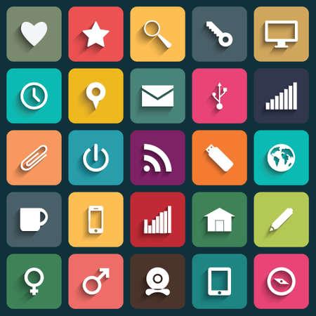 Vector Application Web Icons Set in Flat Design met lange schaduwen.