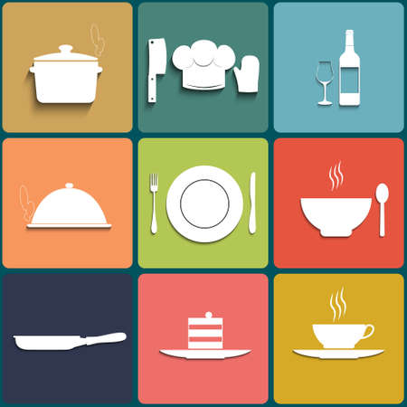 Cooking and kitchen icons Set in Flat Design Vector