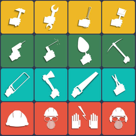 Hand tools icon set in Flat Design Vector