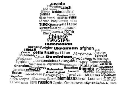 nationality: Word Cloud Concept of nationality of the peoples of the world Stock Photo