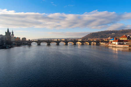 Charles Bridge and the Vltava River in the morning, Prague, Czech Republic