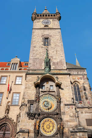 Astronomical Clock (Orloj) in the Old Town of Prague. Installed in 1410, its the only one still working in the world. Czech Republic.