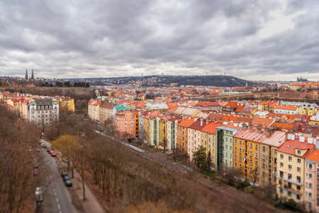 unesco in czech republic: Prague panorama view from Vysehrad, Shallow depth of field, Czech Republic Stock Photo