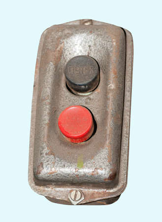 Isolation Of Red And Black Industrial Power Buttons Panel photo