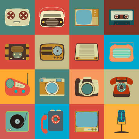 photo icons: Retro Style Media Icons. Vintage Elements