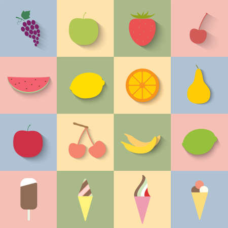 Set of food icons in flat design with long shadows Vector