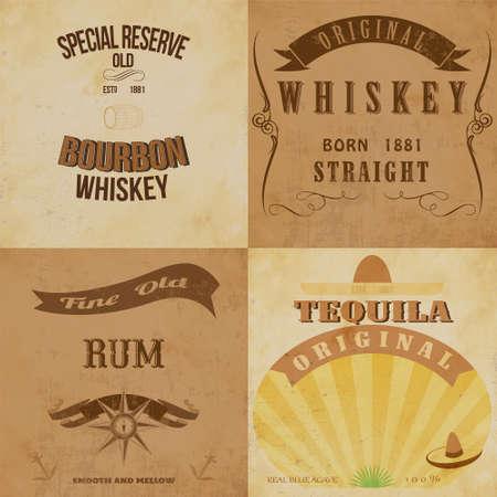 Vintage alcohol labels set 免版税图像 - 29497744