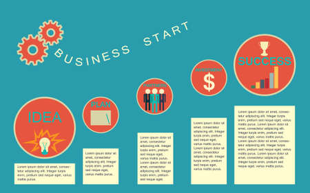 command structure: Business start infographics template Illustration